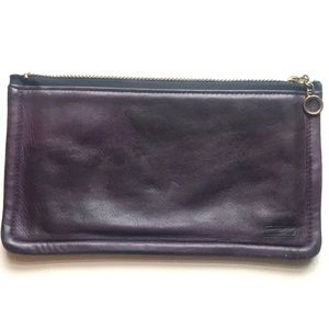 Vintage Coach skinny leather makeup bag purple